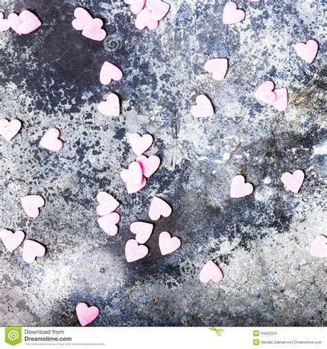 Valentines Day Background With Sugar Hearts On Old Vintage