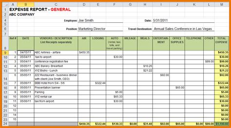 excel expense report template software expense report template expense report format