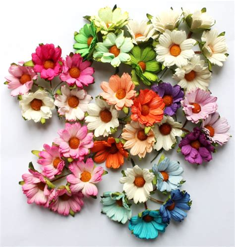 Mulberry Paper Crafts - 5 mulberry paper mixed chrysanthemum flowers 45mm with