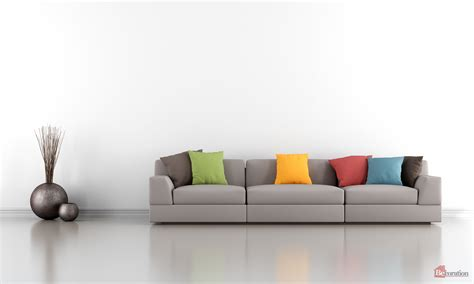 Minimalist Living Room With White Wall And Colorful Sofa
