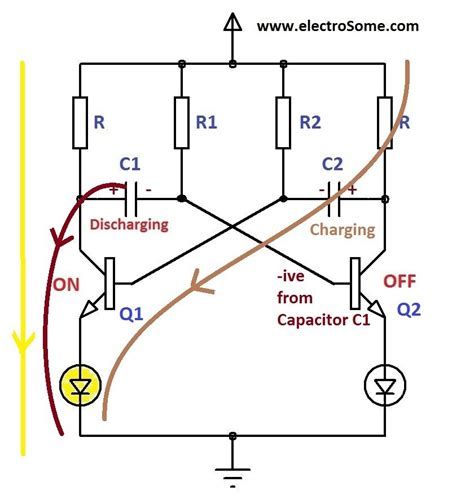 voltage across capacitor in astable multivibrator astable multivibrator using transistors