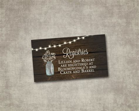 Wedding Registry Inserts by Wedding Registry Insert Jar Baby S Breath Rustic