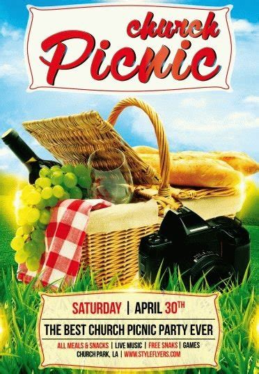Church Picnic Psd Flyer Template 7724 Styleflyers Free Church Picnic Flyer Templates