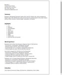 Emergency Management Specialist Sle Resume by Professional Emergency Management Specialist Templates To Showcase Your Talent Myperfectresume