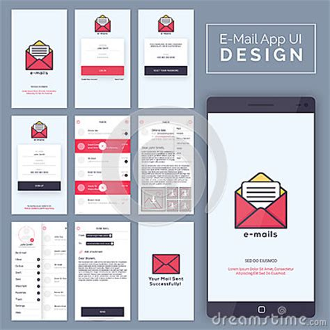 E Mail Mobile App Ui Ux And Gui Template Layout Stock Illustration Image 73381191 Mail App Templates