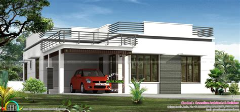 home floor flat roof single floor home in 1300 sq ft kerala home