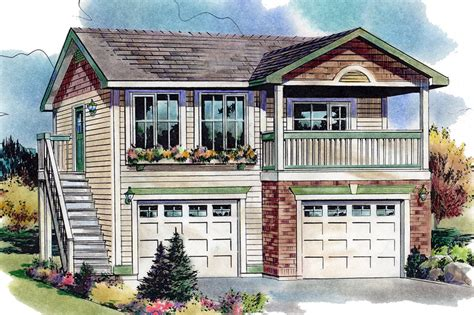 two car garage with apartment above traditional style house plan 1 beds 1 baths 583 sq ft