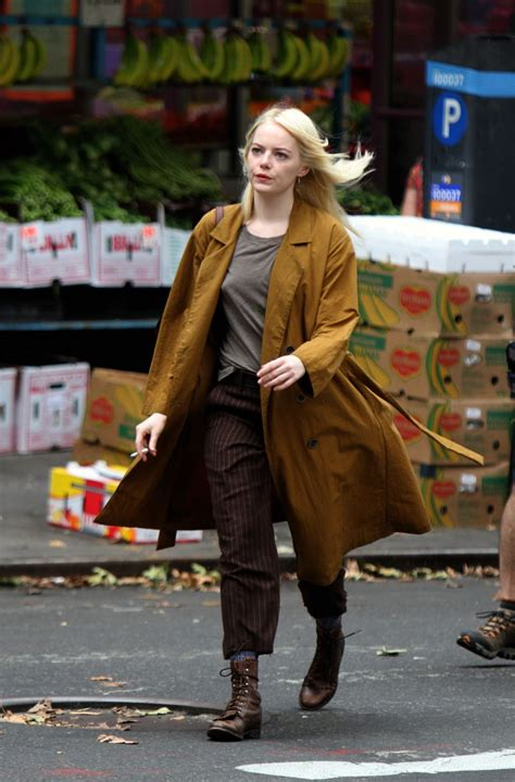 emma stone on the set of the new tv show maniac in emma stone on the set of maniac in new york 08 15 2017