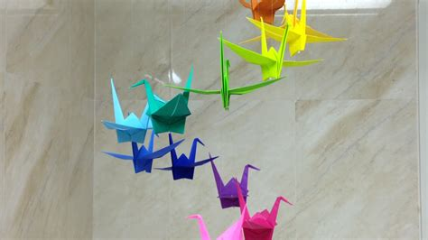 How To Make Paper Like Plastic - how to make a colorful origami crane mobile diy home