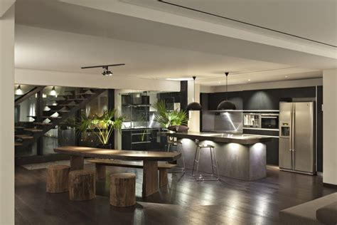 open floor plan penthouse interior design by architects