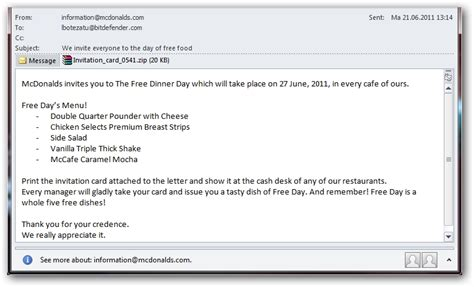 dinner invitation email template mcdonald s free dinner day emails lead to scareware zdnet