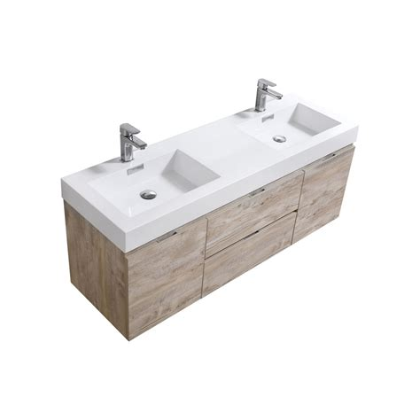 bliss 60 quot nature wood wall mount sink modern bathroom vanity
