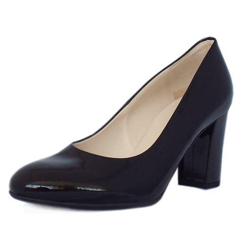 black patent shoes for kaiser dalmara black patent block heel court shoes