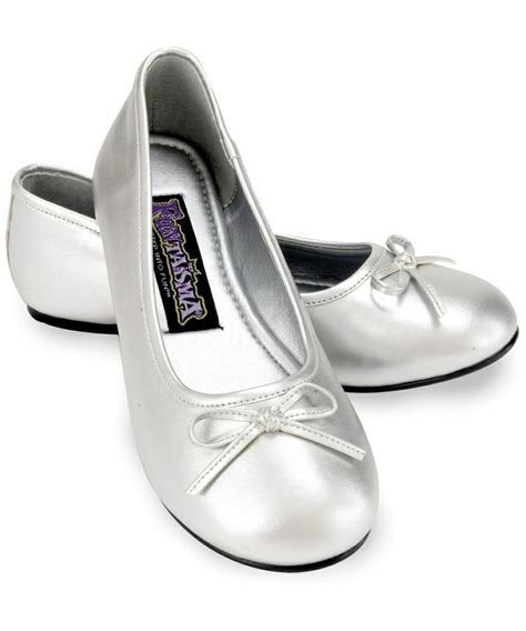 silver ballet flat shoes silver ballet flats costume shoes