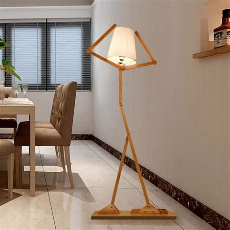 standing light living room nordic creative wooden floor ls e27 log fabric stand