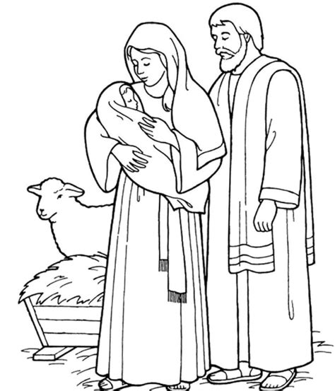 Holy Family Catholic Coloring Page Right Click To
