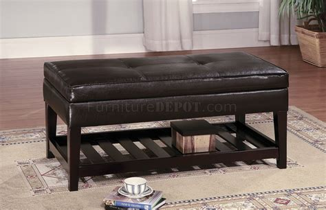 storage bench table brown leather top bench coffee table w shelf slat
