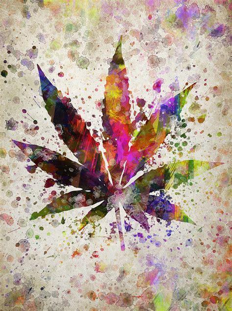 Ganja Abstact abstract marijuana leaf in color digital aged