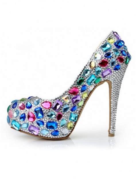 high heels with jewels rhinestones high heels 2085475 weddbook