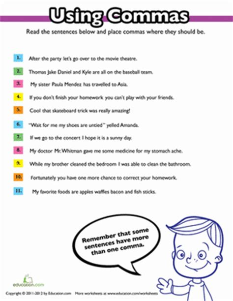 Commas Worksheet 5th Grade using commas worksheet education
