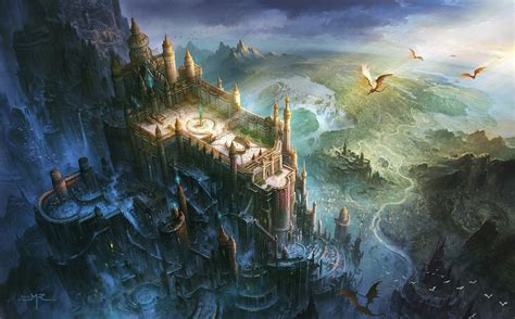 fantasy art dragon castle birds eye view wallpapers hd