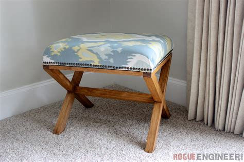 x bench diy upholstered x bench free plans rogue engineer