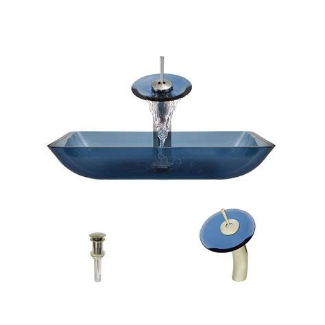 aqua faucet waterfall bathroom sink faucet brushed nickel glass spout mr direct glass vessel sink in aqua with waterfall faucet and pop up drain in brushed nickel 640