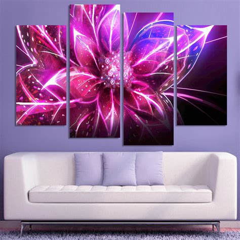 4 Pink Flower Wall D Cor Picture Print 4 free shipping cheap abstract modern wall painting purple pink flower home decorative