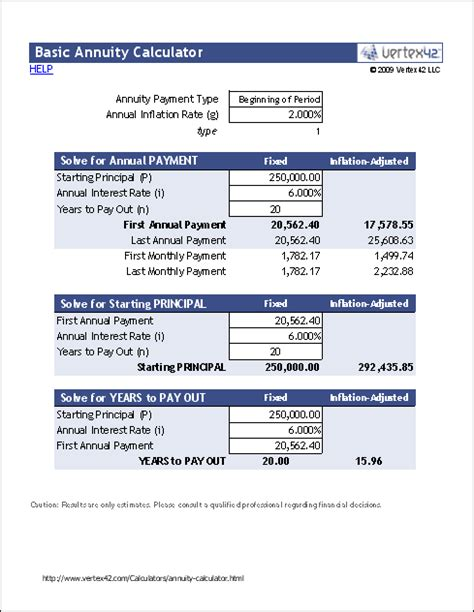 annuity calculator  excel retirement annuity