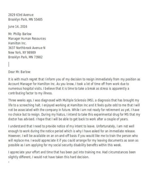Resignation Letter Due To Health Resignation Letter Free Sle Resume Cv Cover Letter