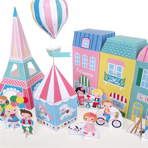 printable crafts paris neighborhood paper playset printable paper craft