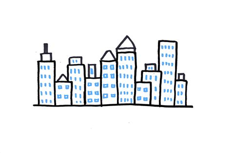 how to draw a city skyline 3 ways