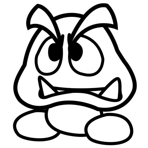 free goomba super mario pages coloring pages