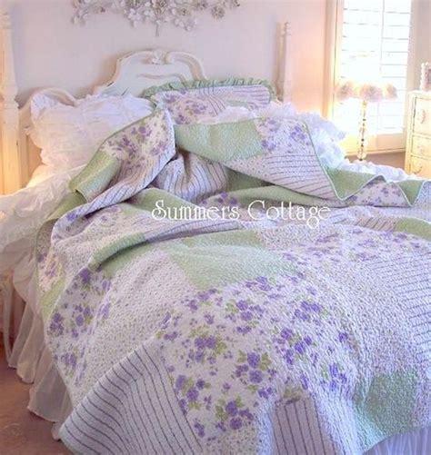 Lavender Patchwork Quilt - cottage lavender cottage roses patchwork quilt set