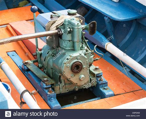 wooden boat engines old perkins diesel engine on the wooden boat stock photo