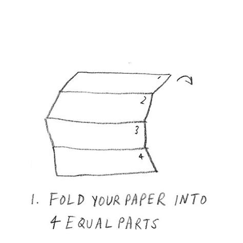 How To Fold A Paper Into 3 Equal Parts - surrealist drawing 183 extract from draw paint print