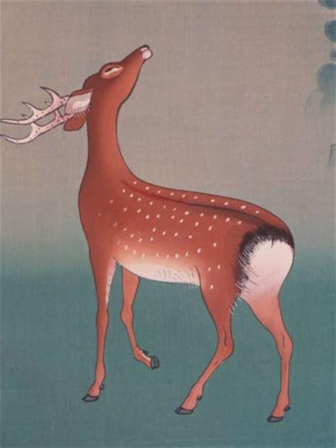 vintage cs koyo omura japanese woodblock print deer kyota hanga  deer pinterest