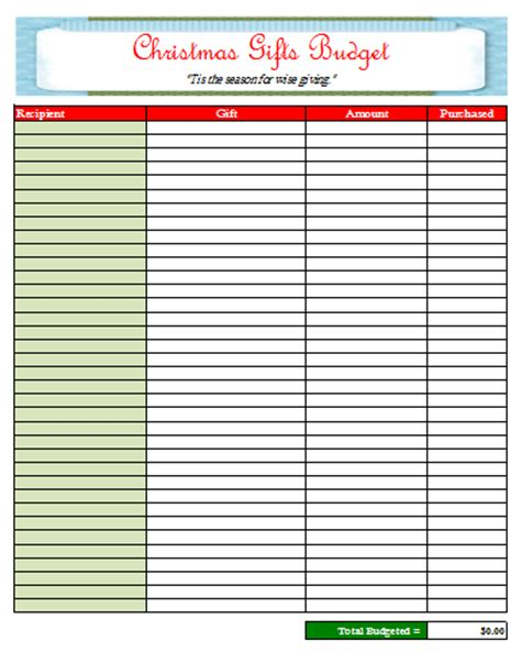 shopping for sheets christmas shopping budget sheet budget templates