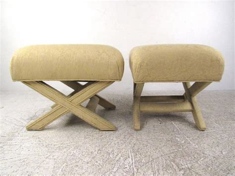 Pair Of Vintage Quot X Quot Frame Upholstered Ottomans For Sale At Ottoman Frames To Upholster