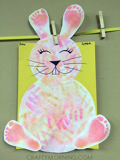 easter bunny crafts for footprint handprint easter bunny craft for crafty