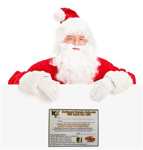 A Gift Card Santa - holiday traditions national karate martial arts and tae kwon do schools