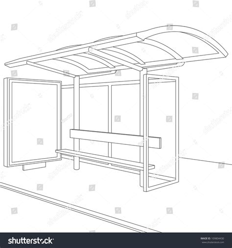 bus stop empty design template branding stock illustration