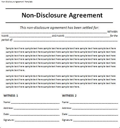 non disclosure agreement template free word templates