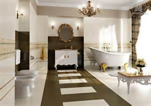 salle de bain luxueuse or et blanc bain design