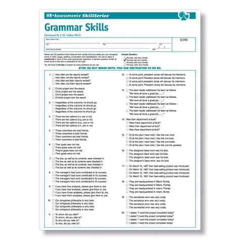 grammar test grammar test for applicants and clerical employees