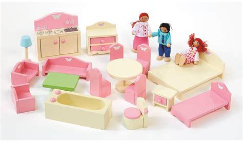 childrens dolls house furniture sets george home wooden doll house furniture set kids george at asda