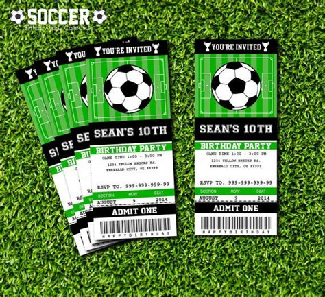 Soccer Ticket Invitation Printable Instant Download Editable Pdf Birthdays Pinterest Soccer Ticket Invitation Template Free