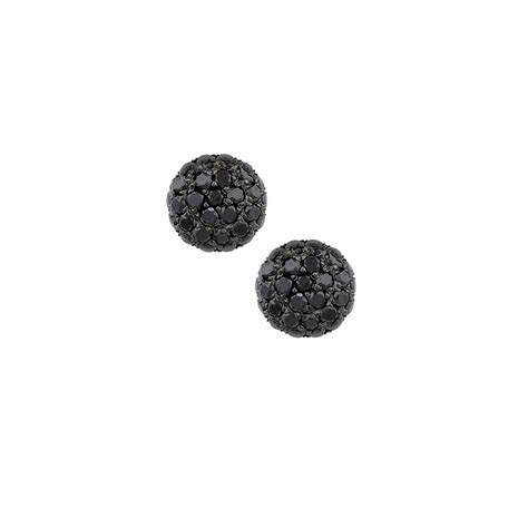 Luxury White Gold Black Diamond Ball Stud Earrings