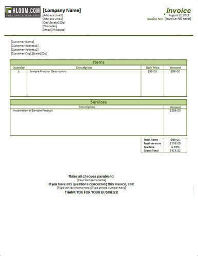 17 service invoice templates free pdf word excel format