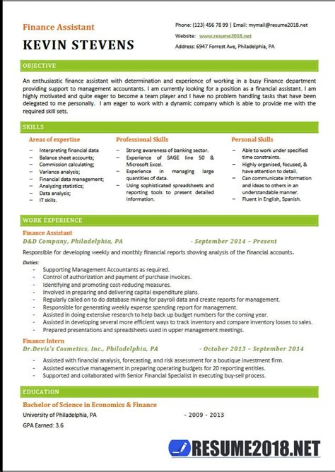 Resume Samples Bookkeeper by Finance Assistant Resume Templates 2018 6 Samples In Word
